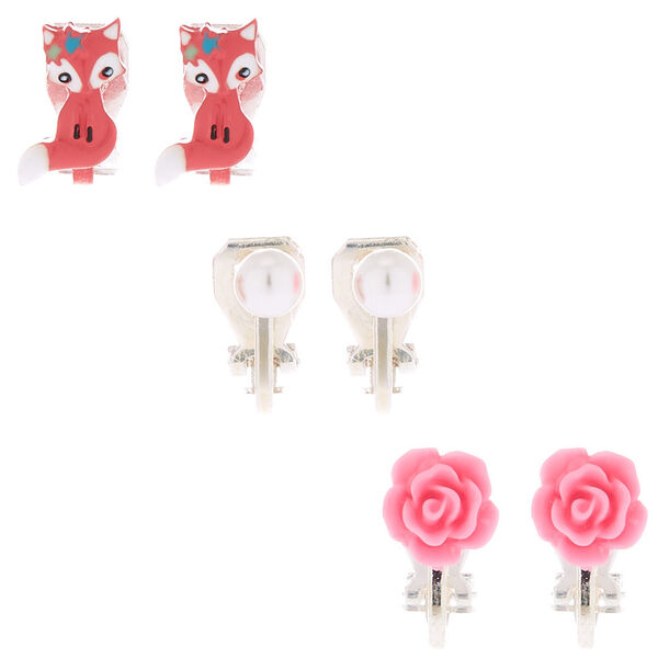 Claire's - farrah the fox clip on earrings - 1