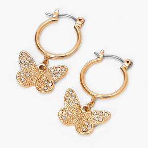 Créoles papillon en filigrane 10mm couleur dorée,