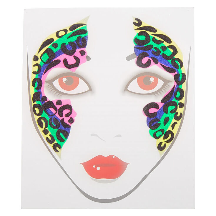 Rainbow Glitter Leopard Face Stickers,
