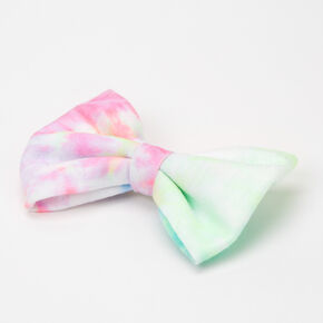 Tie Dye Pastel Hair Bow Clip - Pink/Lime,