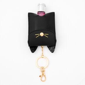 Cat Hand Sanitiser Pouch Keychain - Black,
