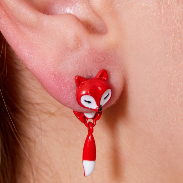 Claire's - small fox front & back earrings - 2