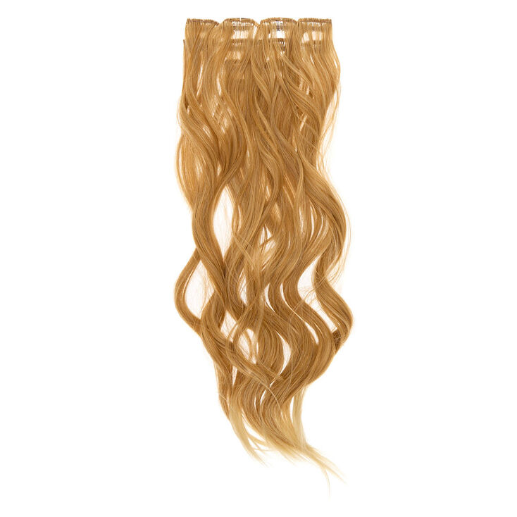 Wavy Faux Hair Clip In Extensions - Blonde, 4 Pack,