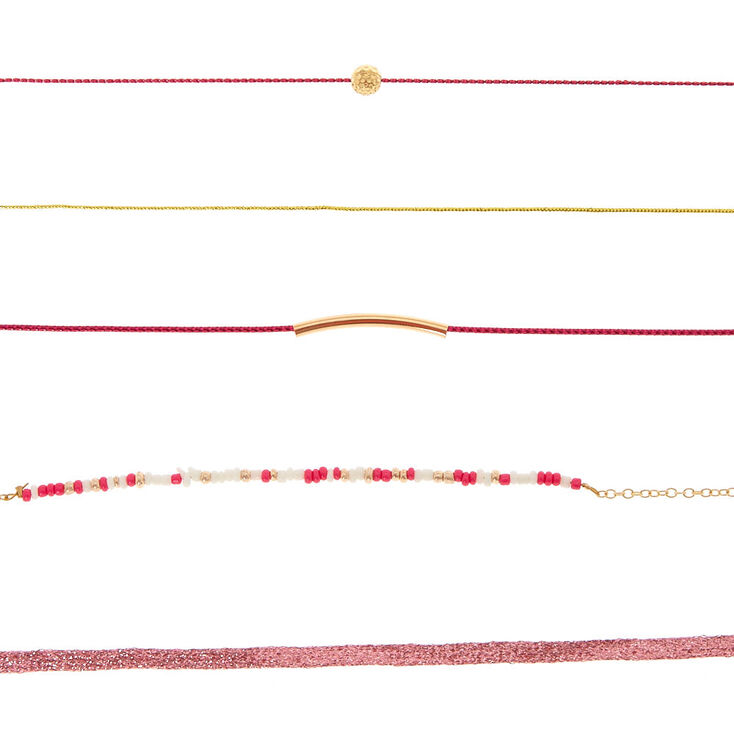 Beach Party Choker Necklaces - Pink, 5 Pack,
