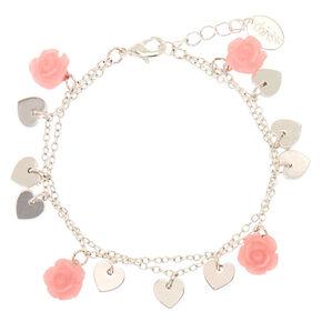 Bracelet à breloques cœurs et roses,