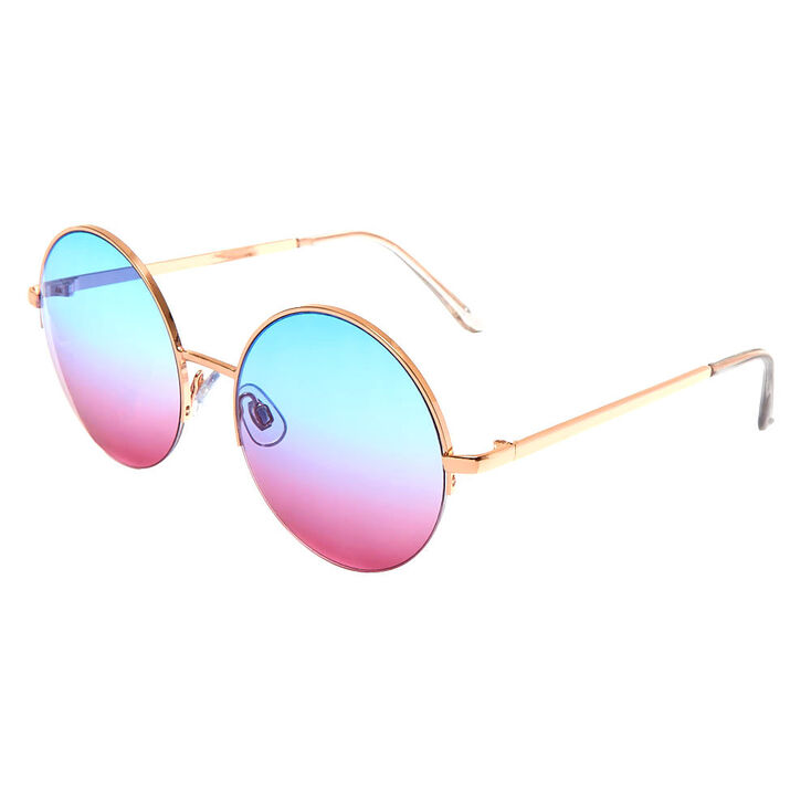 Blue & Pink Ombre Tinted Round Sunglasses,