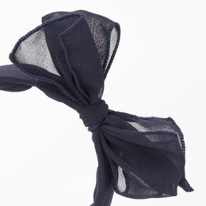 Chiffon Knotted Bow Headband - Navy,