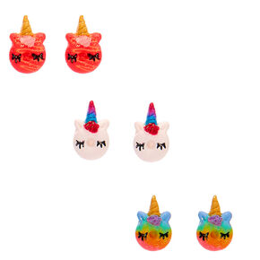 Unicorn Donut Stud Earrings - 3 Pack,