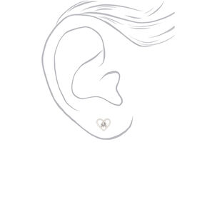 Silver Embellished Spring Mix Stud Earrings - 9 Pack,