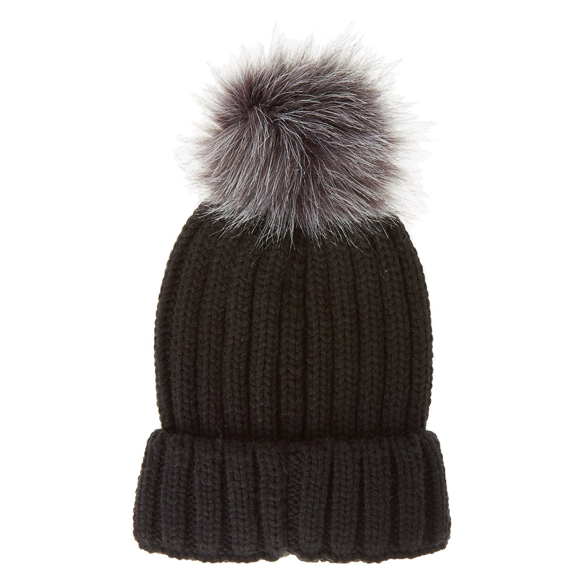 Black Beanie Hat with Grey Pom Pom  8bc837964a5