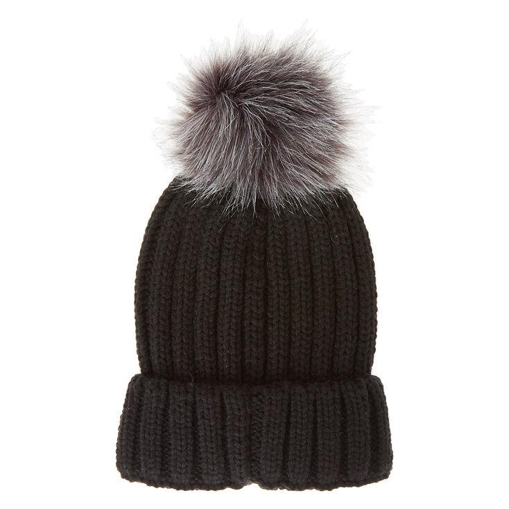 638b1230f90 Black Beanie Hat with Grey Pom Pom