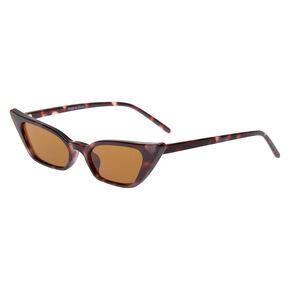 Tortoiseshell Slim Cat Eye Sunglasses,