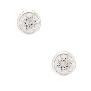 Sterling Silver Cubic Zirconia Round Bezel Stud Earrings - 4MM,