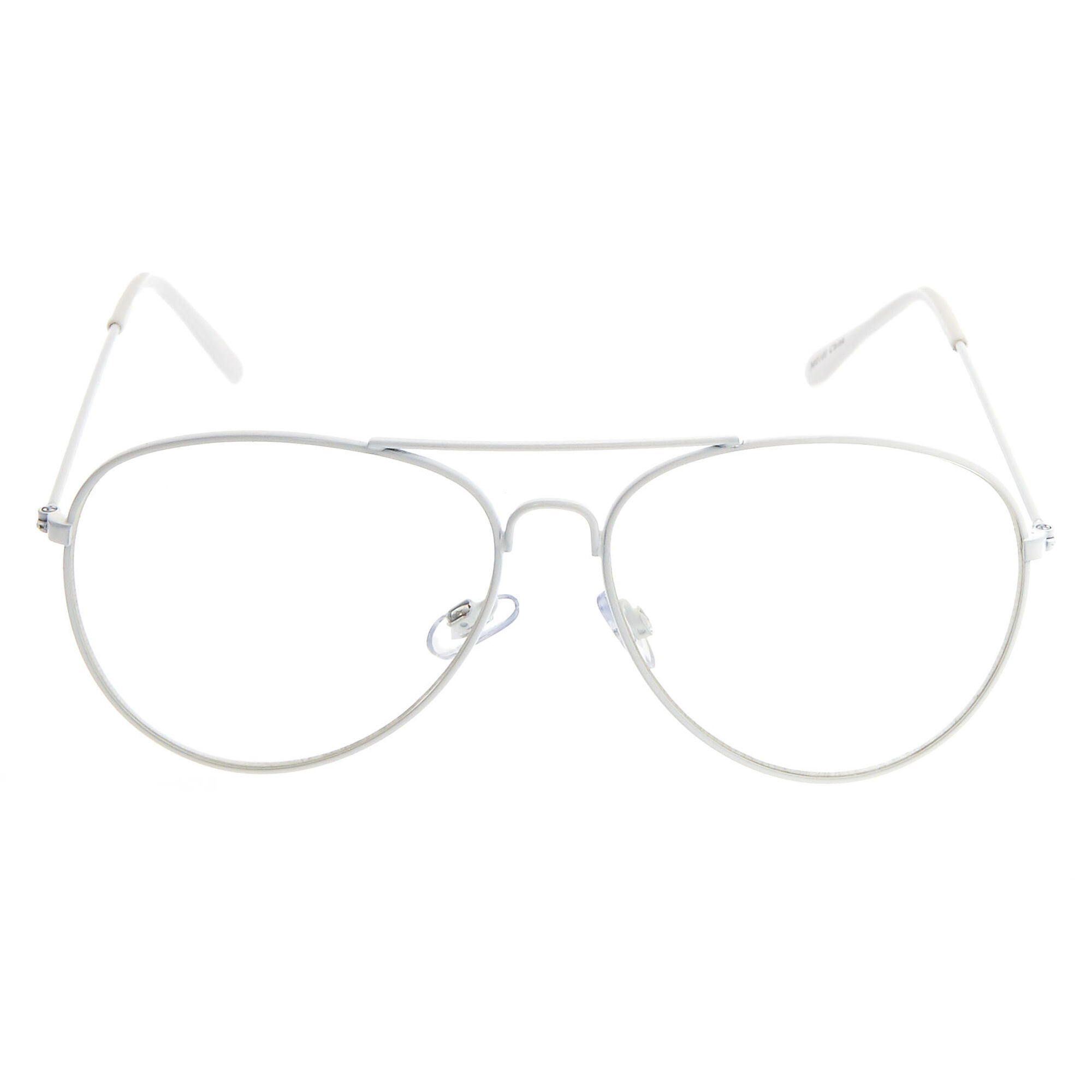 White Metal Aviator Frames | Claire\'s US