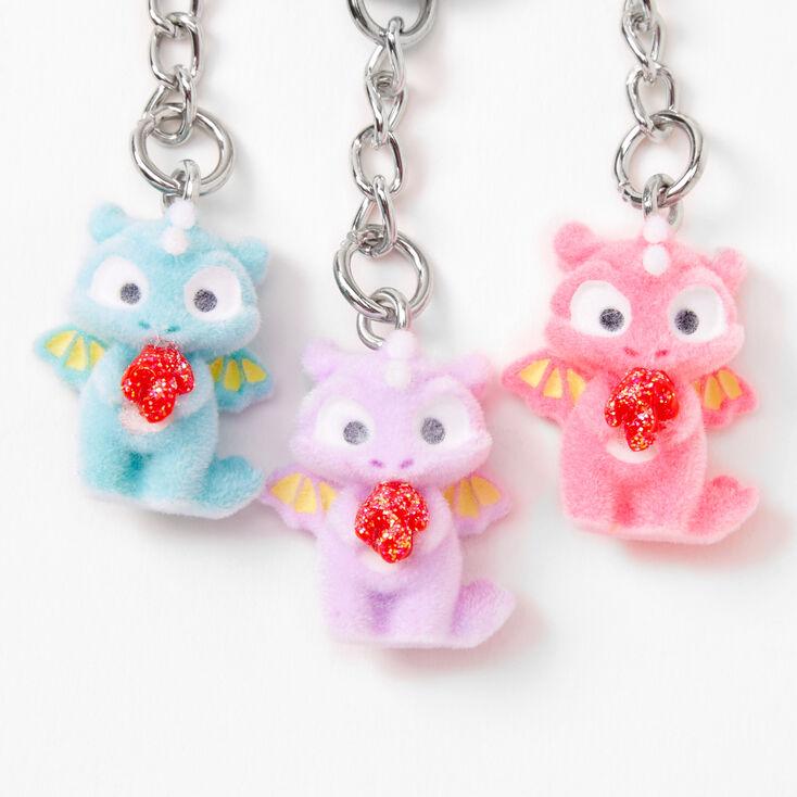 Best Friends Pastel Fuzzy Dragon Keychains - 3 Pack,