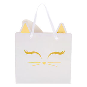 Iridescent Kitty Cat Gift Bag - White,