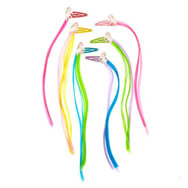 Claire's - club faux hair unicorn snap hair clips - 2
