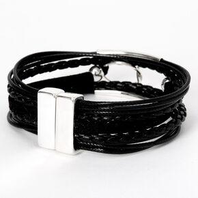 Braided Ring Leather Wrap Bracelet - Black,
