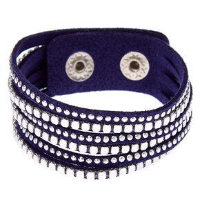Silver Studded Wrap Bracelet - Navy,