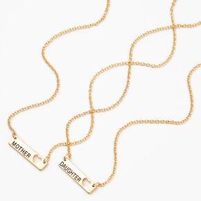 Mother Daughter Gold Bar with Heart Cut Out Pendant Necklaces,
