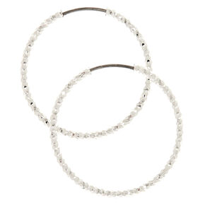 Silver 25MM Laser Cut Hoop Earrings,