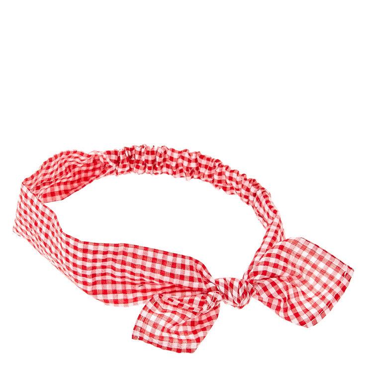 Bandeau à nœud à carreaux Vichy rouges et blancs,