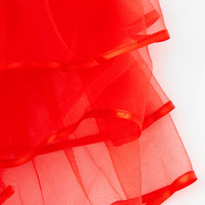Satin Trim Three Layer Tulle Tutu - Red,