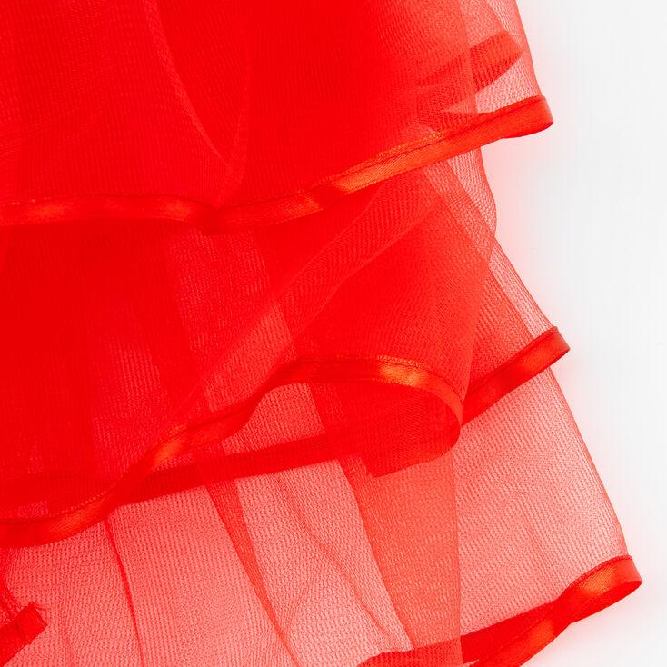 Satin Trim Three Layer Tulle Tutu - Red,