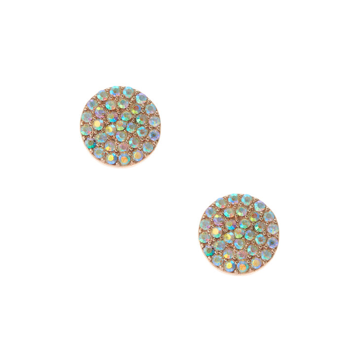 Aurora Borealis Disc Stud Earrings