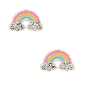 Sterling Silver Rainbow Stud Earrings,
