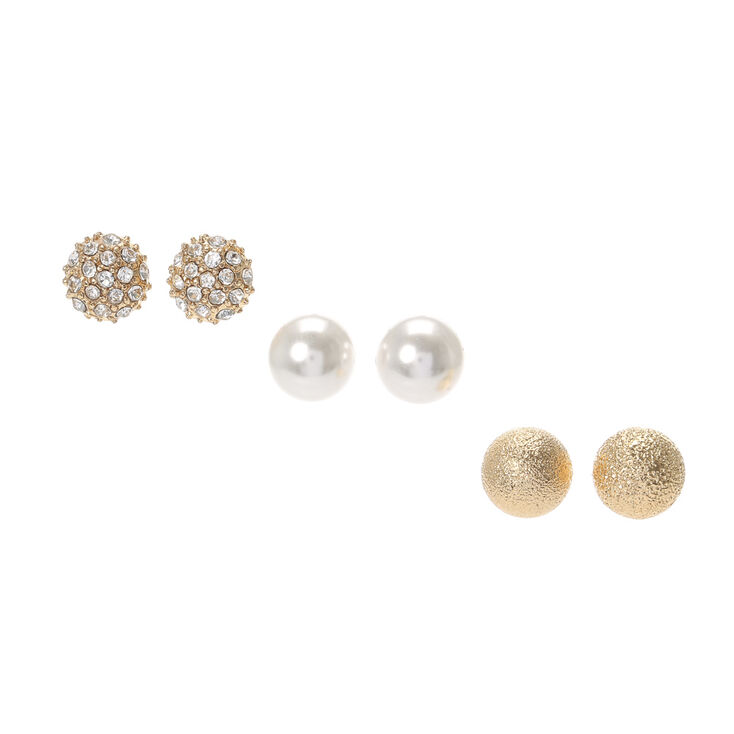 880d79663 Pavé Crystal Dome, Pearl and Brushed Gold Ball Stud Earrings ...