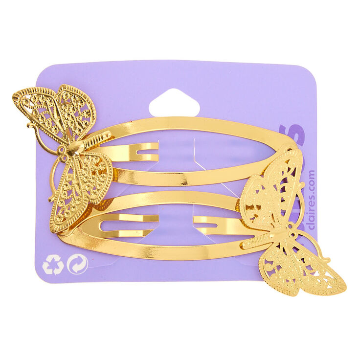 Gold Butterfly Jumbo Snap Hair Clips - 2 Pack,