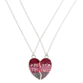 Best Friends Glitter Ombre Heart Pendant Necklaces - Pink, 2 Pack,