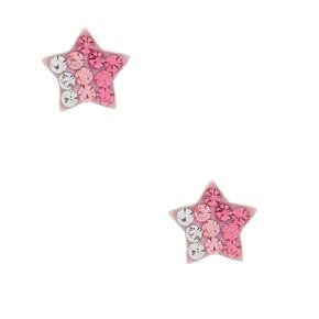 Clous d'oreilles en argent avec étoiles rose,