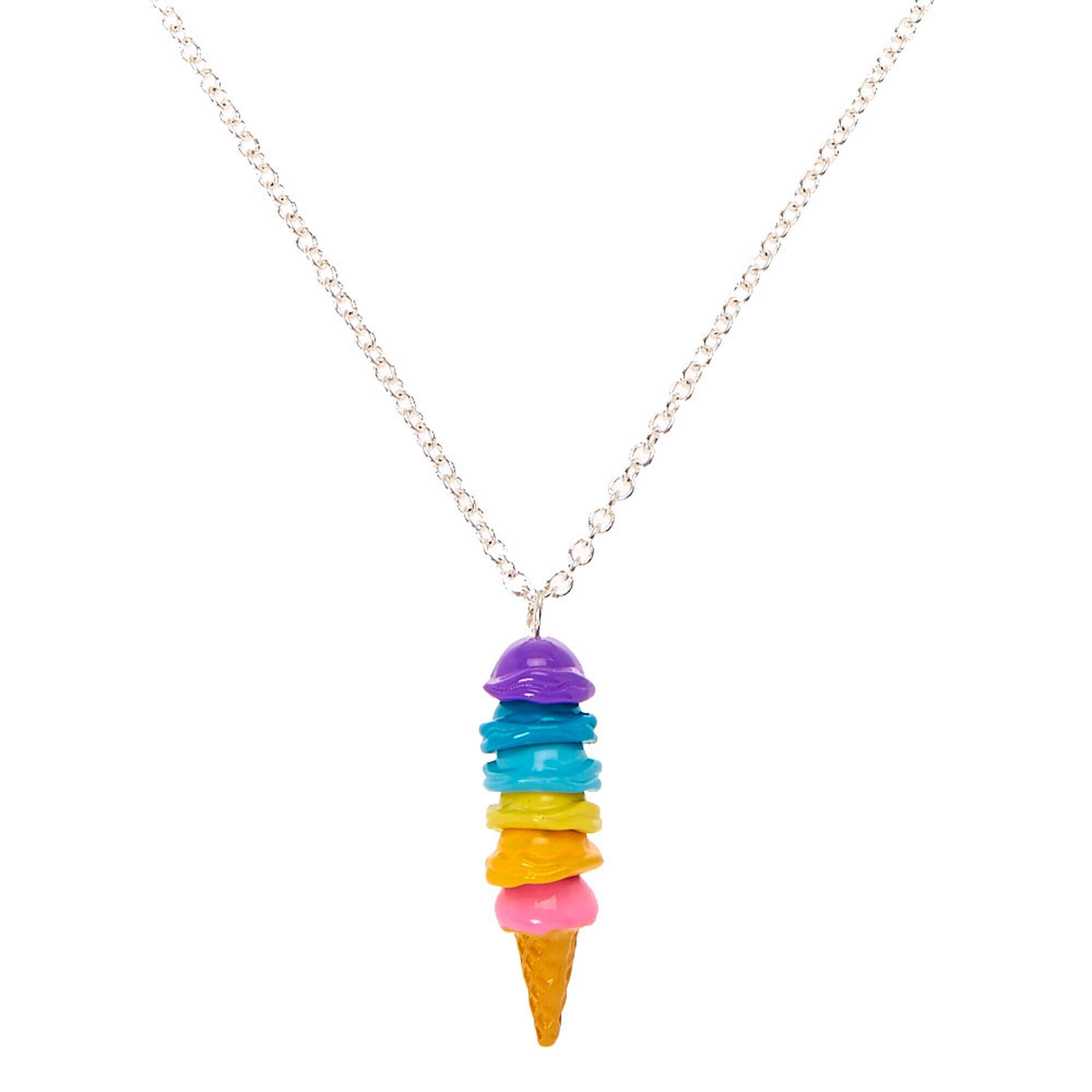 Rainbow Ice Cream Cone Pendant Necklace