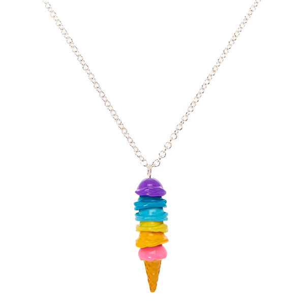 Claire's - rainbow ice cream cone pendant necklace - 1