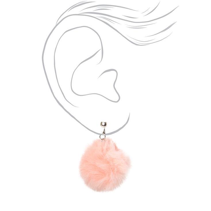 """Silver 1.5"""" Pom Pom Clip On Drop Earrings - Light Pink,"""