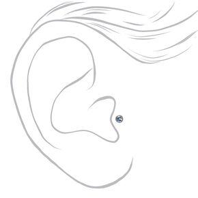 Clous d'oreilles pour piercing tragus avec strass divers 1,2mm couleur titanée et couleur argentée - Lot de 3,