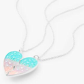 Best Friends Mermaid Glitter Split Heart Necklaces - 2 Pack,