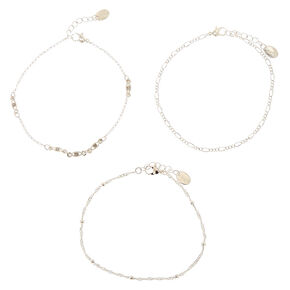 Silver Simple Beaded Chain Anklets - 3 Pack,
