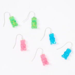 "Silver 0.5"" Gummy Bear Drop Earrings - 3 Pack,"