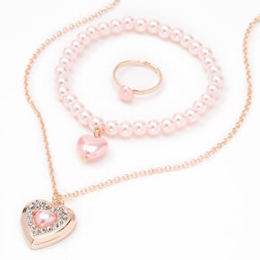 Claire's Club Rose Gold Pink Pearl Heart Jewelry Set - 3 Pack,
