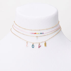 Gold Rainbow Love Choker Necklaces - 4 Pack,