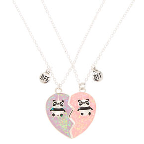 Best Friends Pandacorn Heart Pendant Necklaces - 2 Pack,