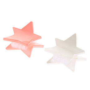 Pink & White Mini Star Hair Claws - 2 Pack,