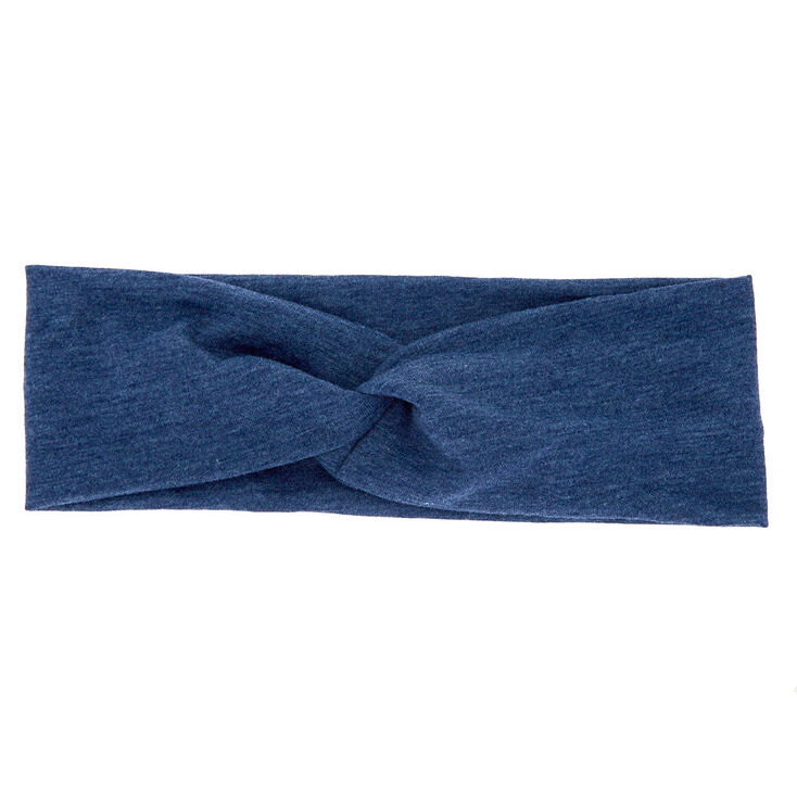 Wide Jersey Twisted Headwrap - Navy,