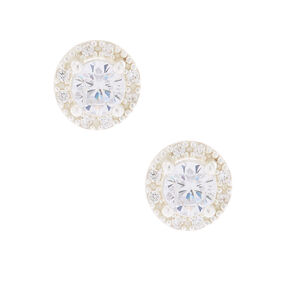 Sterling Silver Cubic Zirconia Halo Stud Earrings - 5MM,
