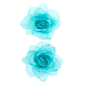 Glitter Flower Hair Clips - Turquoise, 2 Pack,