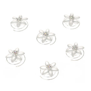 Frosted Crystal Flower Hair Sliders,