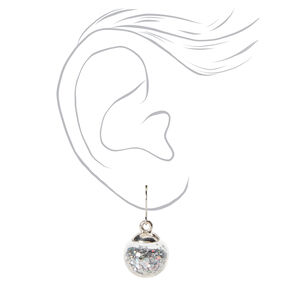 Silver 1'' Holographic Shaker Drop Earrings,